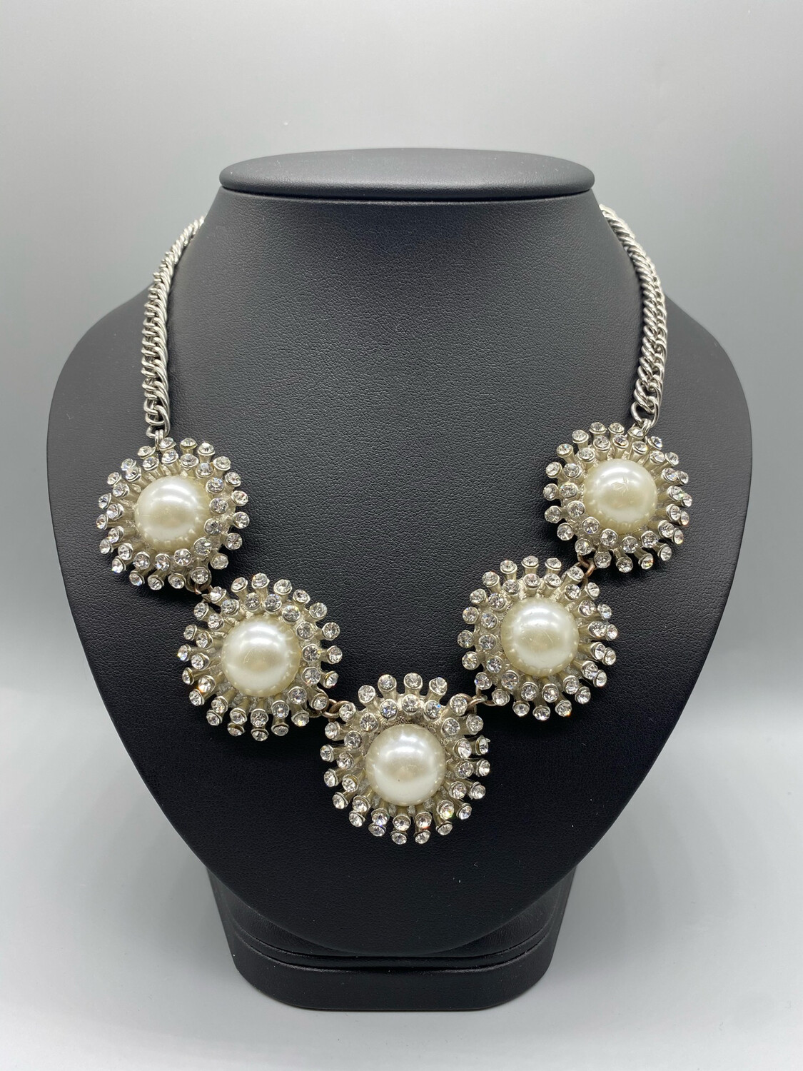Pearl And Silver Rhinestone Statement Necklace