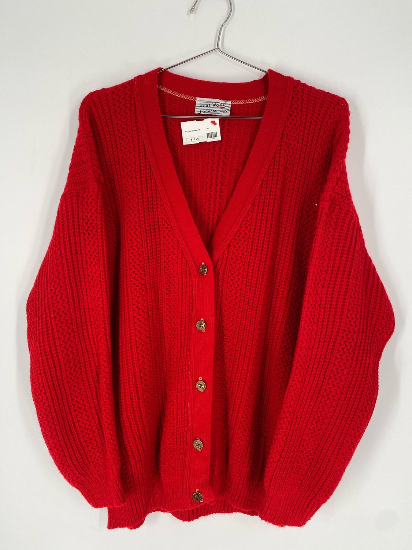 Trans World Fashions Red Cardigan Size M