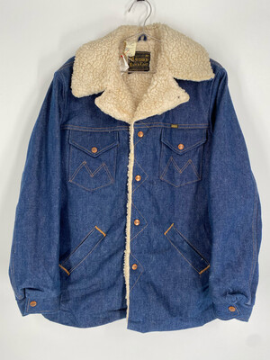 Maverick Ranch Denim Jacket With Fur Interior Size Large
