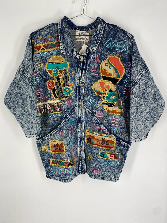 The Quacker Factory Vintage Hand-Painted Denim Jacket Size L