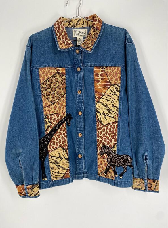 Tan Trums Animal Print Vintage Denim Jacket Size M