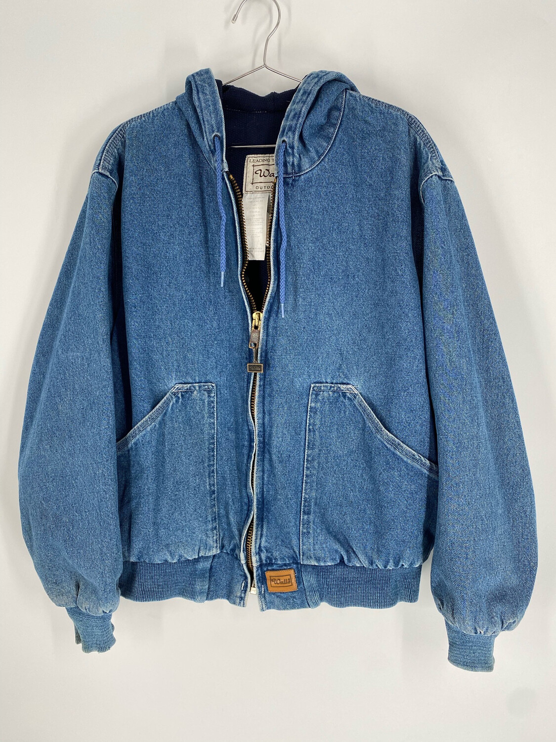 Walls Outdoor Denim Zip Up Hooded Bomber Jacket Size L
