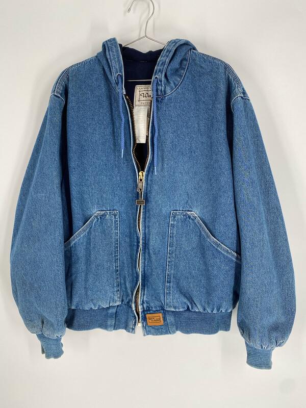 Walls Outdoor Denim Zip Up Hooded Bomber Jacket Size L