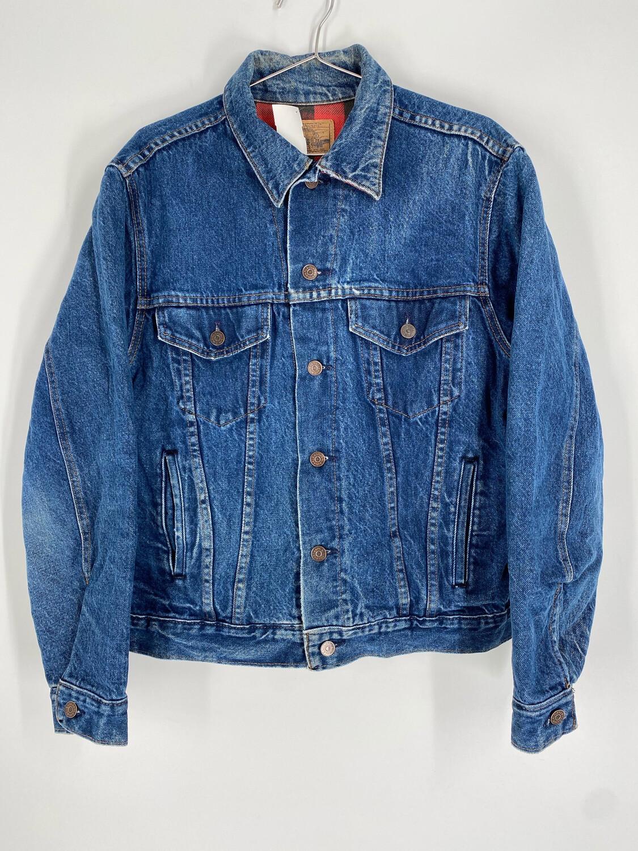 Plain Pockets Denim Jacket With Flannel Interior Size S