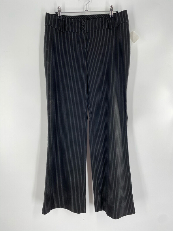 Clk Low-rise Black And White Striped Flare Pants Size M
