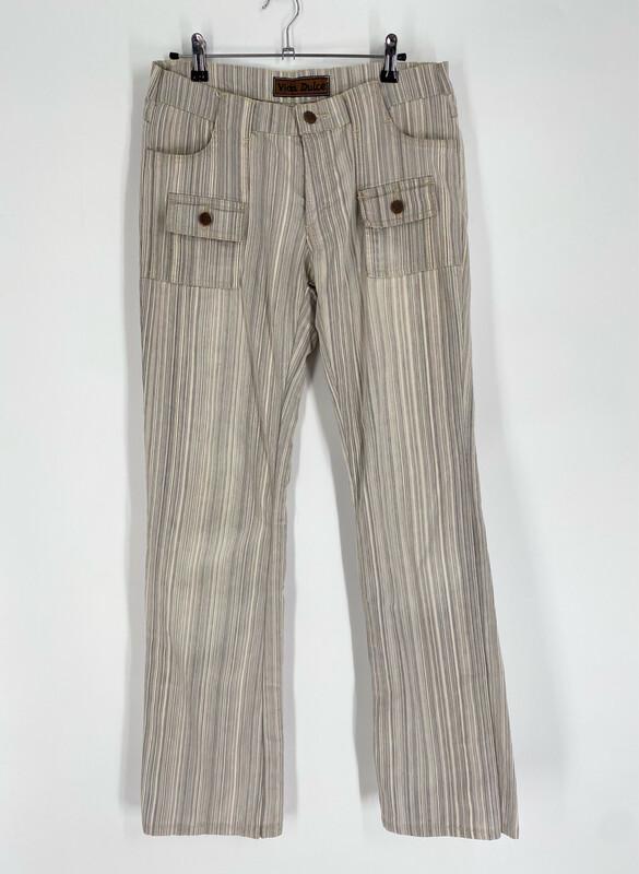 Vida Dulce Low-Rise Flare Striped Jeans