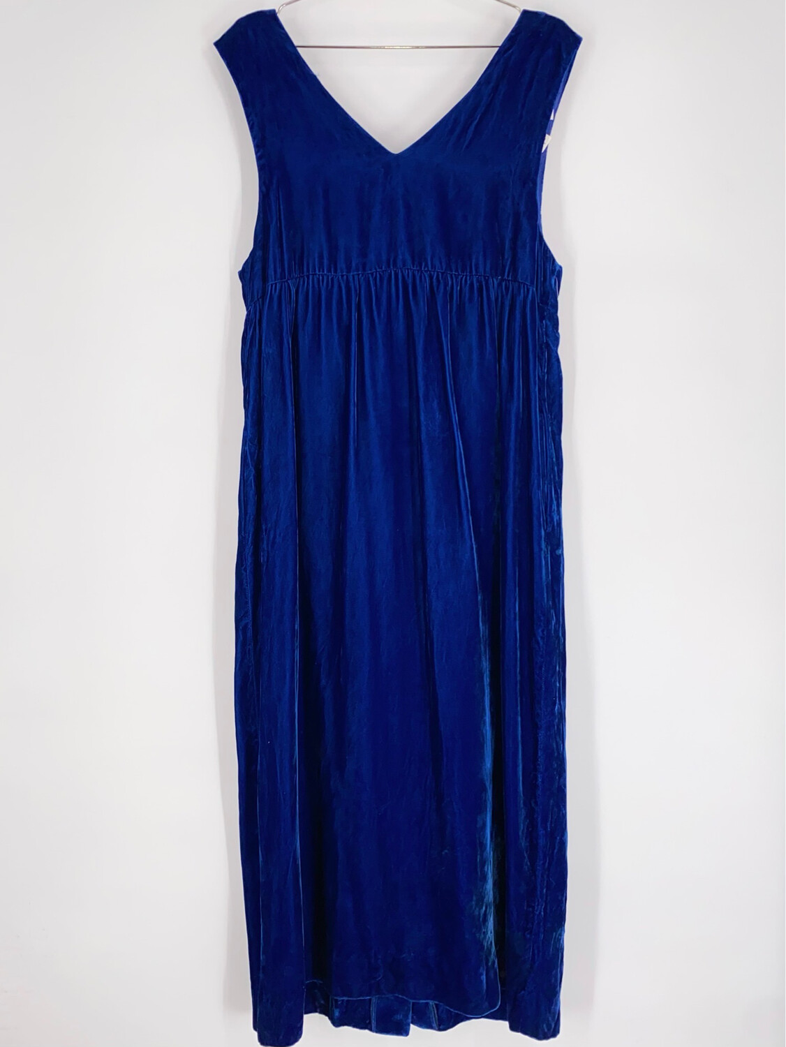 Lord And Taylor Blue Crushes Velvet Babydoll Dress Size L