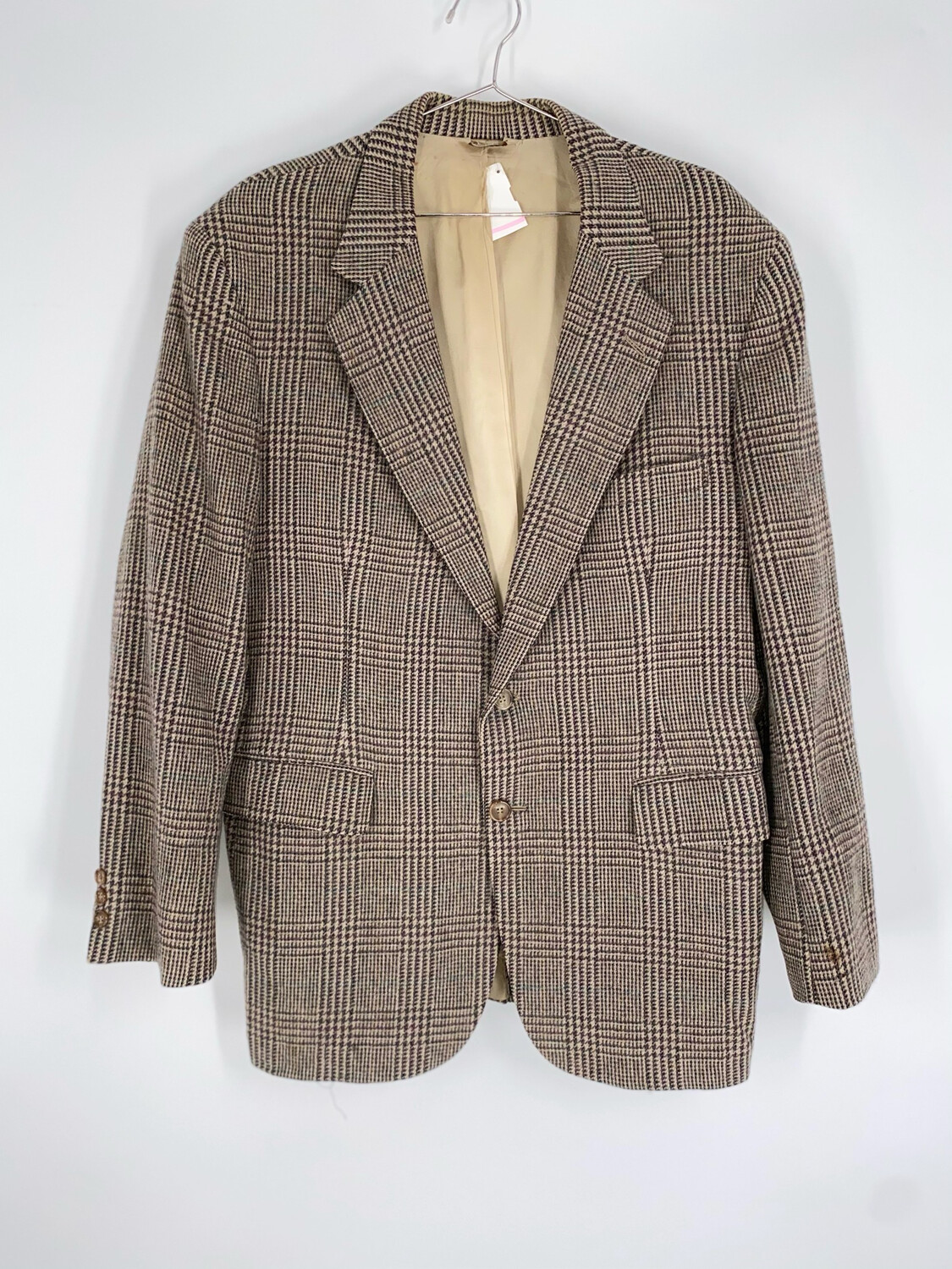 Kennedy's Grey And Multicolored Plaid Wool Blazer Size L