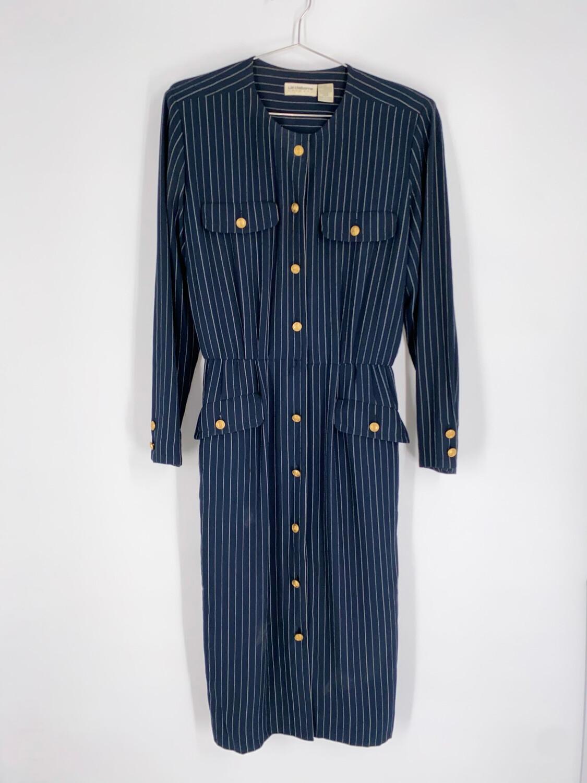 Liz Claiborne Navy Pinstripe Dress Size M
