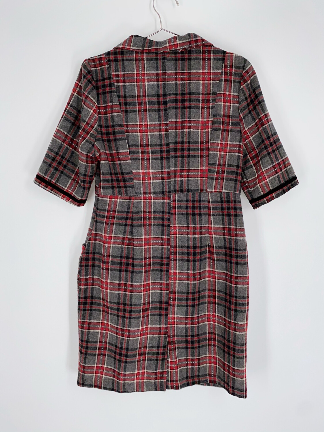 Retro Grey And Red Plaid Dress Size S
