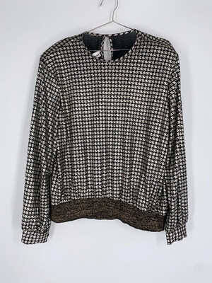 Silver And Black Metallic Hounds tooth Top Size L