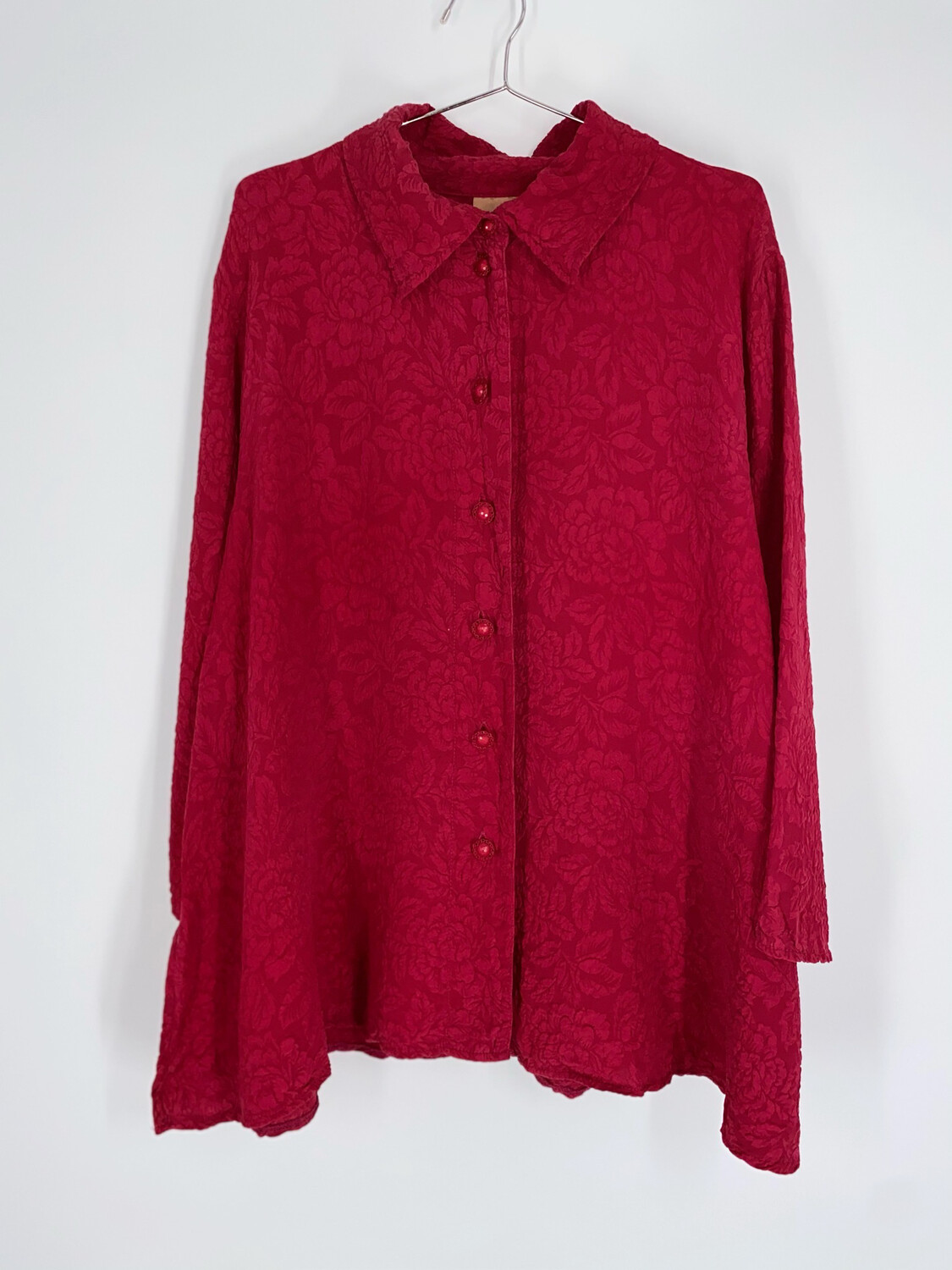 URU Floral Embossed Red Button Up Size M