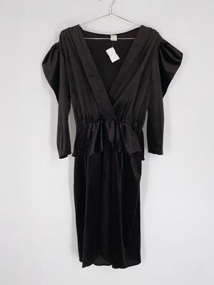 Black Velvet Puff Sleeve MIDI Dress Size M
