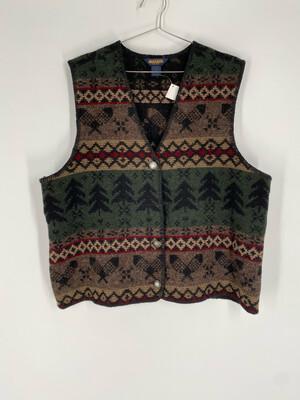 Woolrich Printed Wool Vest Size L