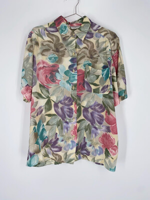 Alfred Dunner Floral Button Up Top Size L