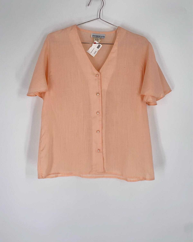 Rosebud II Pink Ruffle Sleeve Top Size L