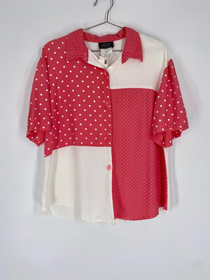 Fritzi Pink and White Polka Dot Button Up Top Size L