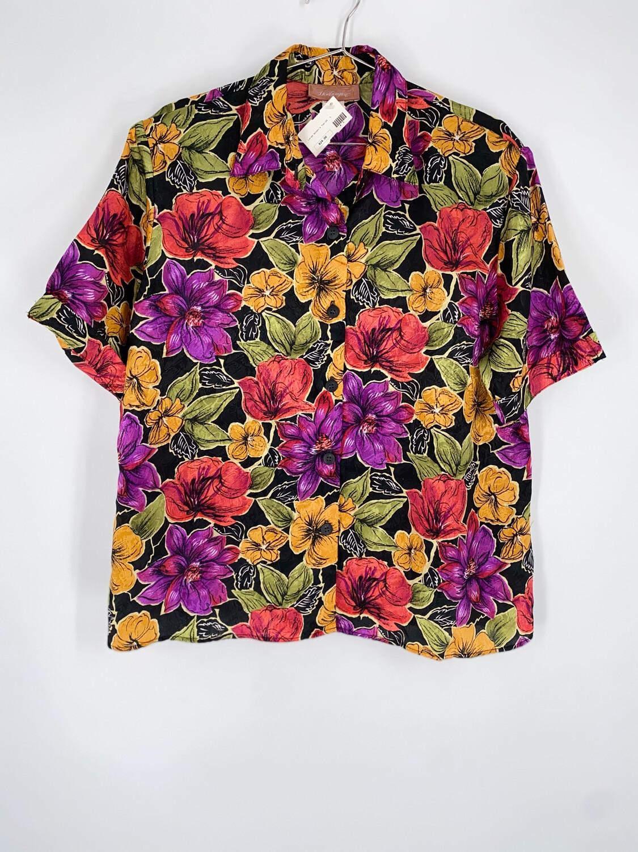 Worthington Floral Button Up Top Size L