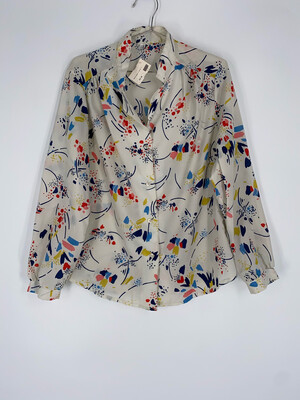 Abstract Patterned Mock Collar Blouse Size M