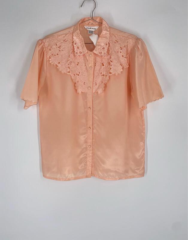 JSM Fashion Pink Floral Collar Blouse Size L