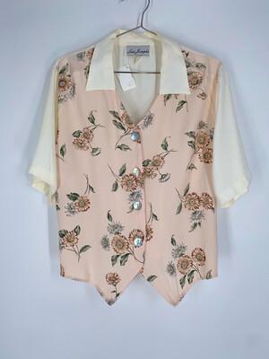 Lisa Josephs Floral Tie-back Button Up Top Size L
