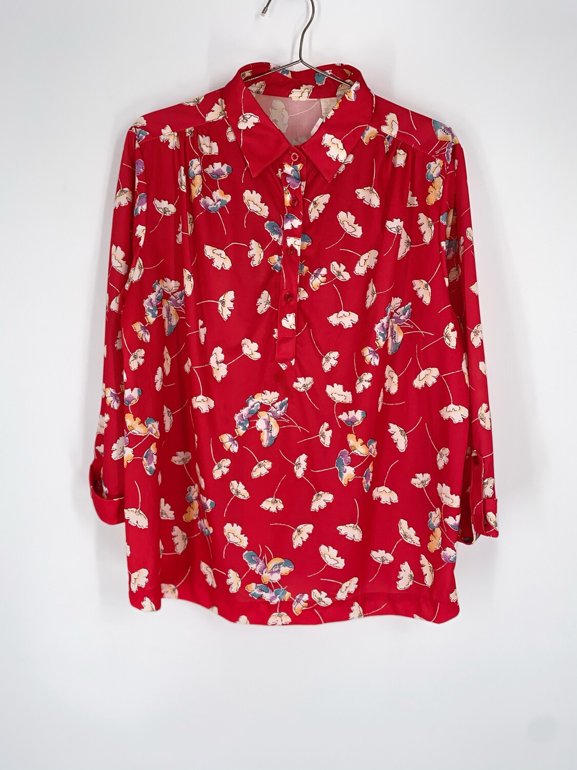 Red Floral Button Up Top Size L