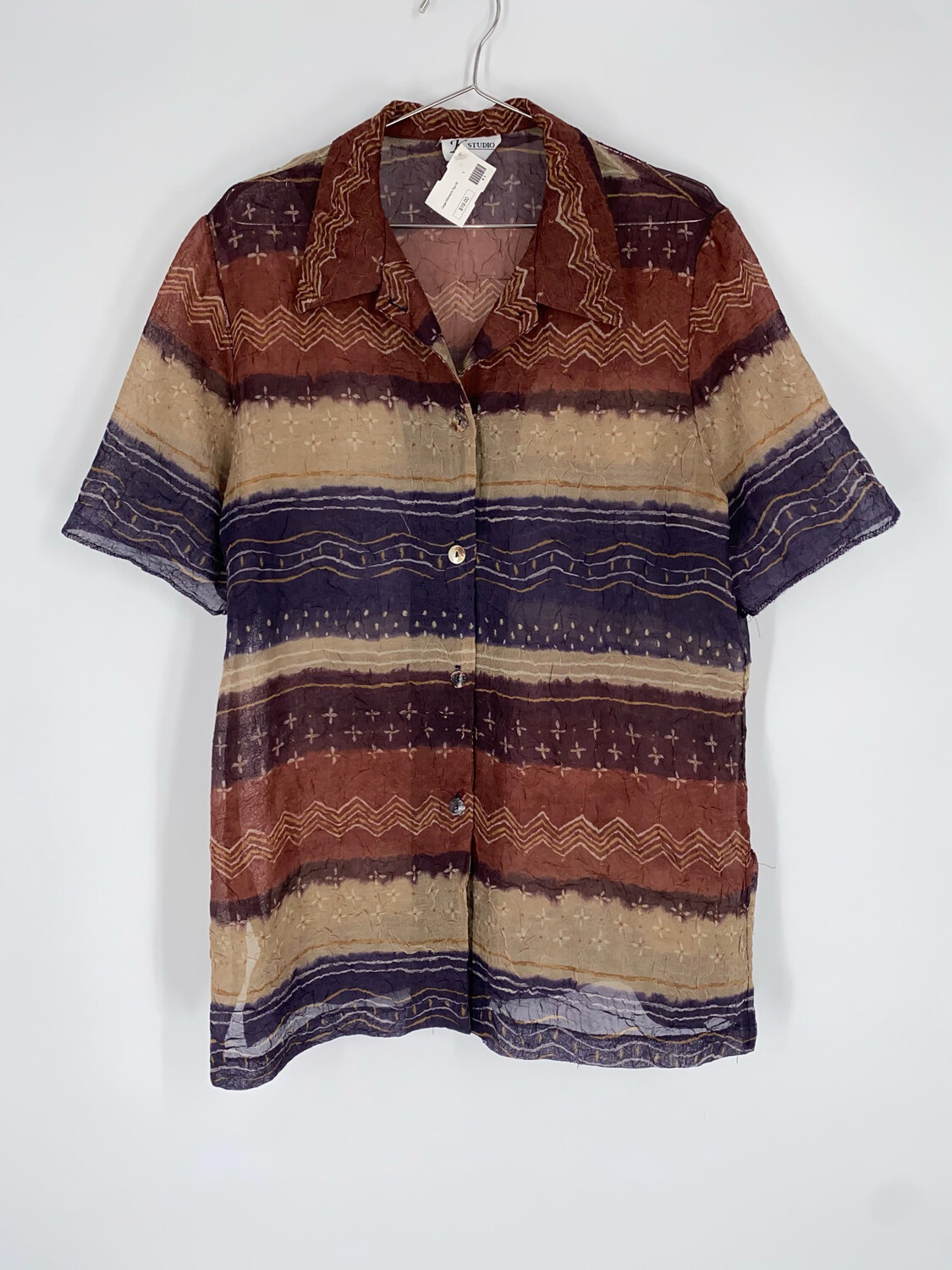 K Studio Sheer Striped Button Up Size L
