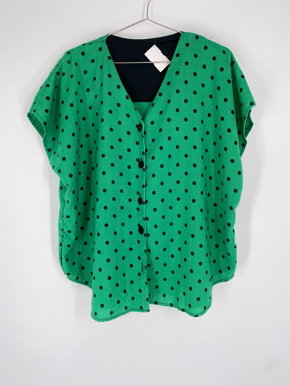 Green Polka Dot Boxy Top Size L