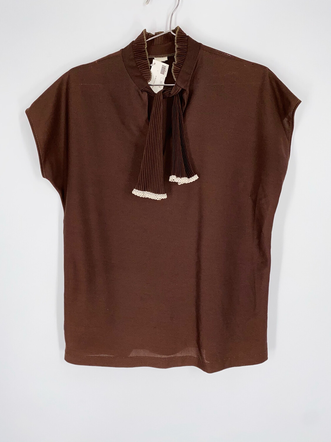 Brown Sleeveless Top With Tie Size L