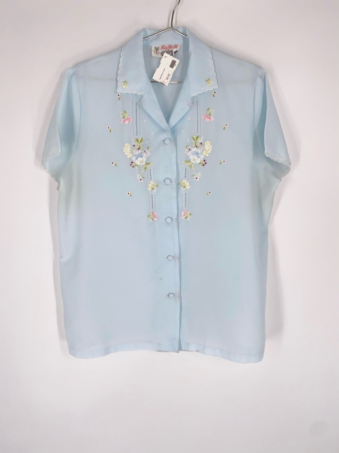 Daffodil Blue Floral Embroidered Blouse Size XL