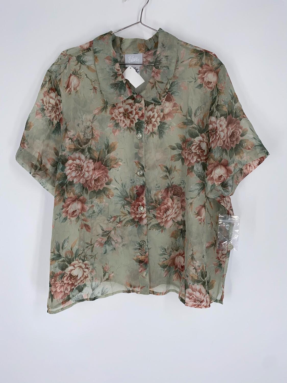 Blair Sheer Green Floral Blouse Size L