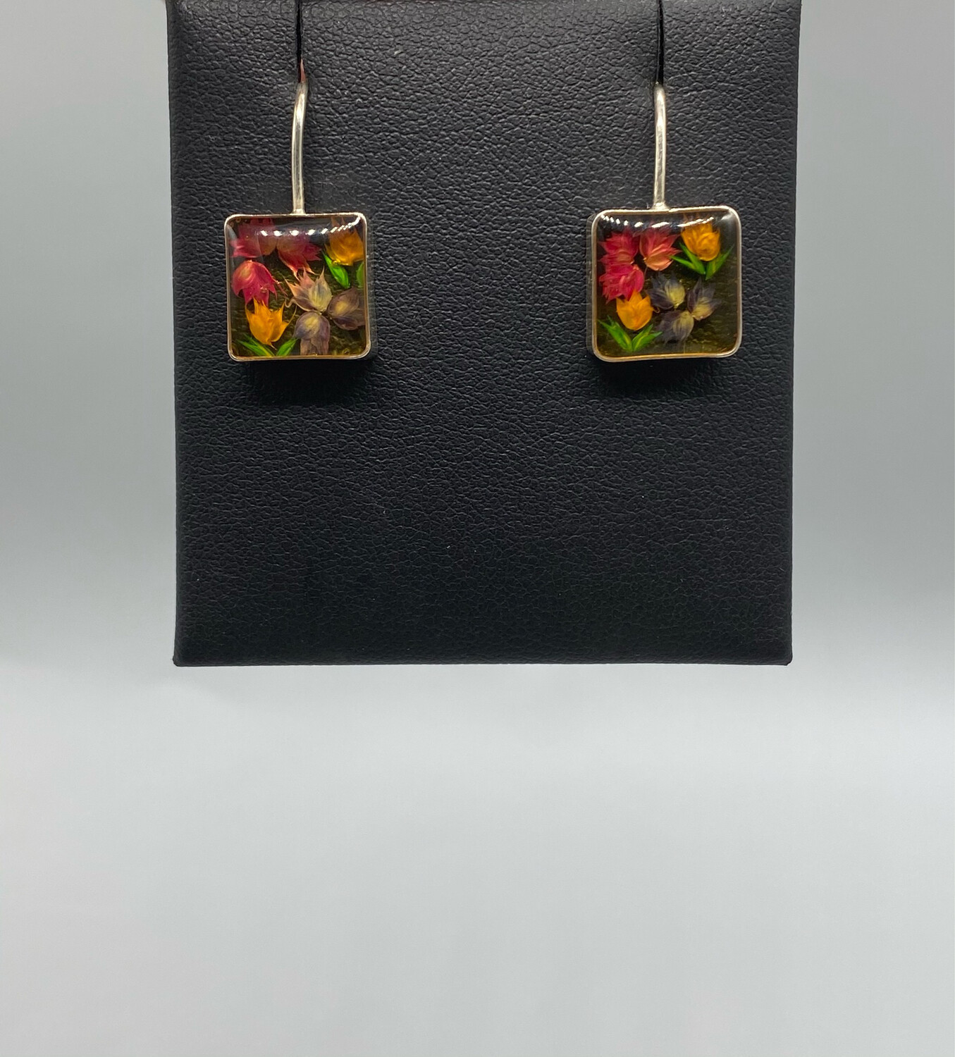 Floral Resin Square Drop Earrings