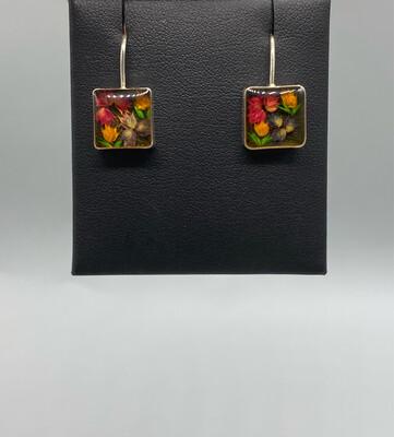 Floral Resin Square Drop Earrings