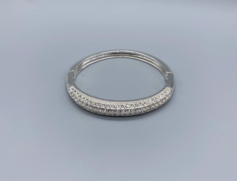 Silver with White Rhinestones Bangle