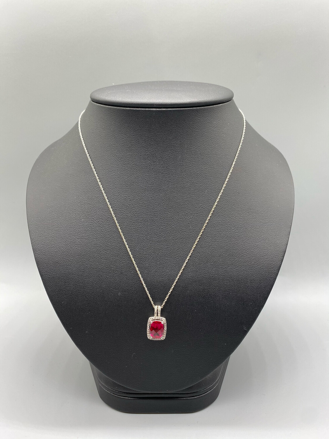 Silver Pendant Necklace With Square Cut Red Stone