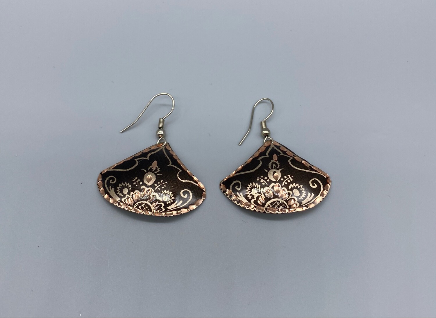 Copper Wire Embossed Earrings