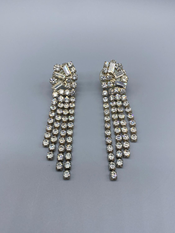 White Rhinestone Drop Earrings