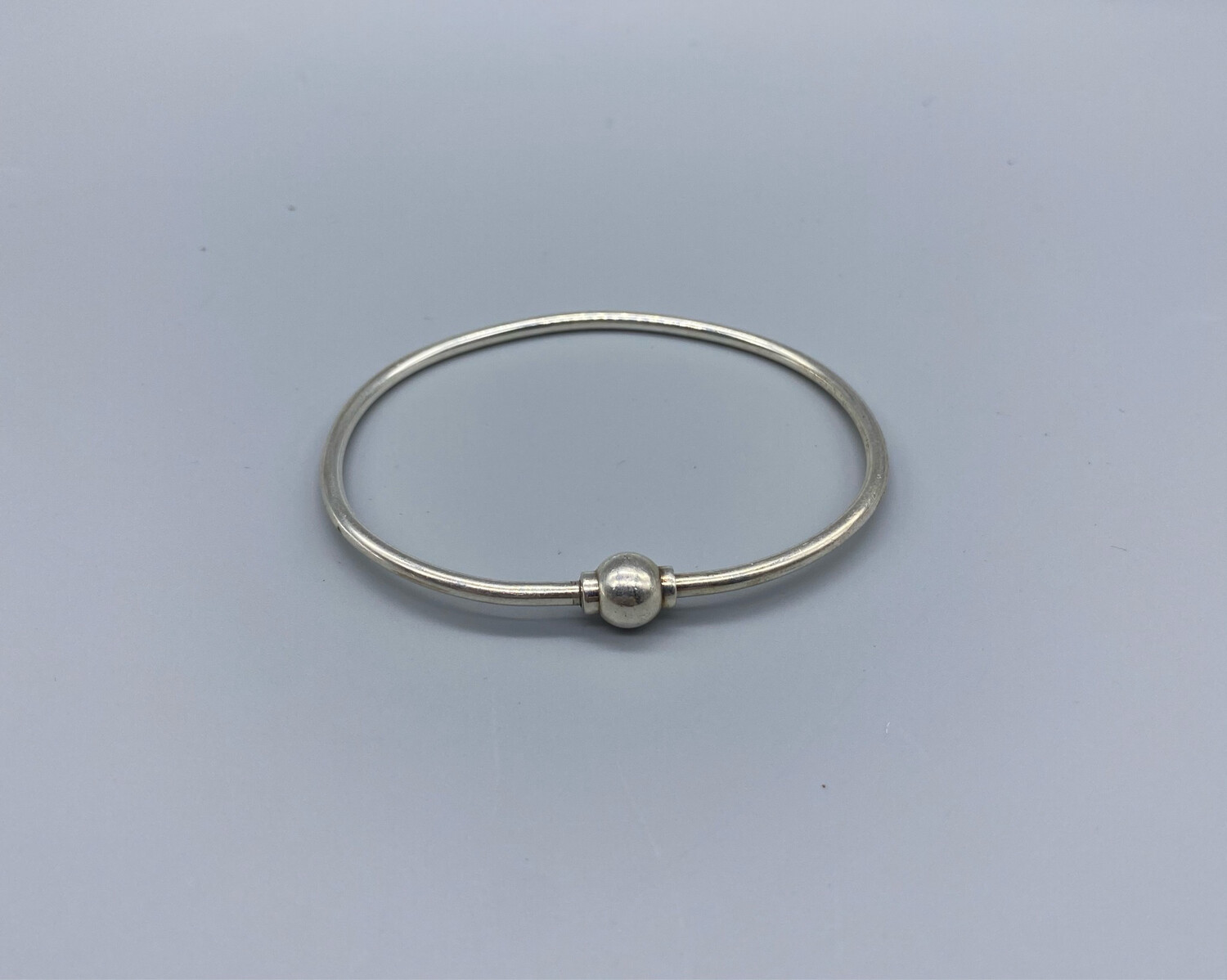 Silver Wire Bangle With Sphere Detail