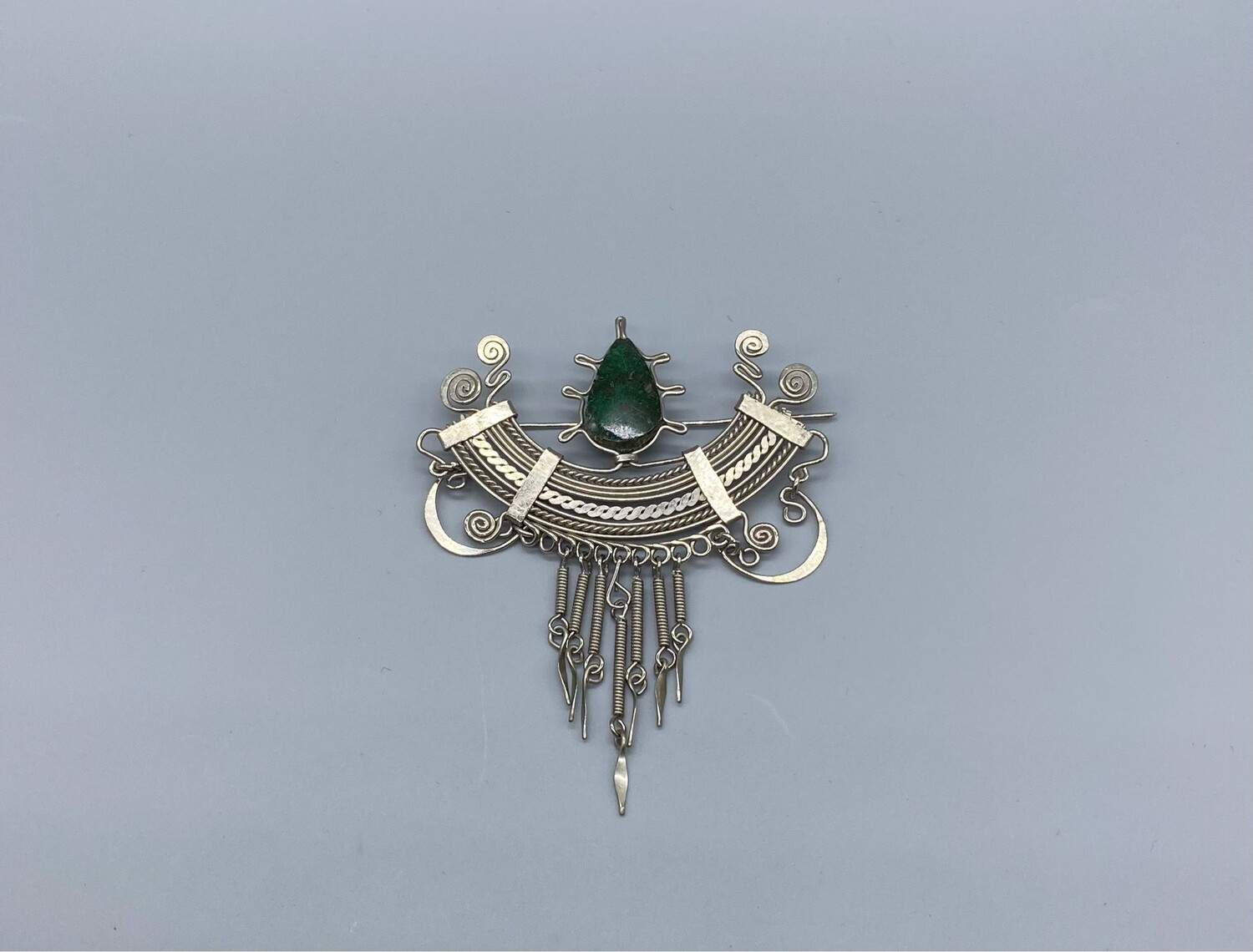 Vintage Silver With Green Stone Pin