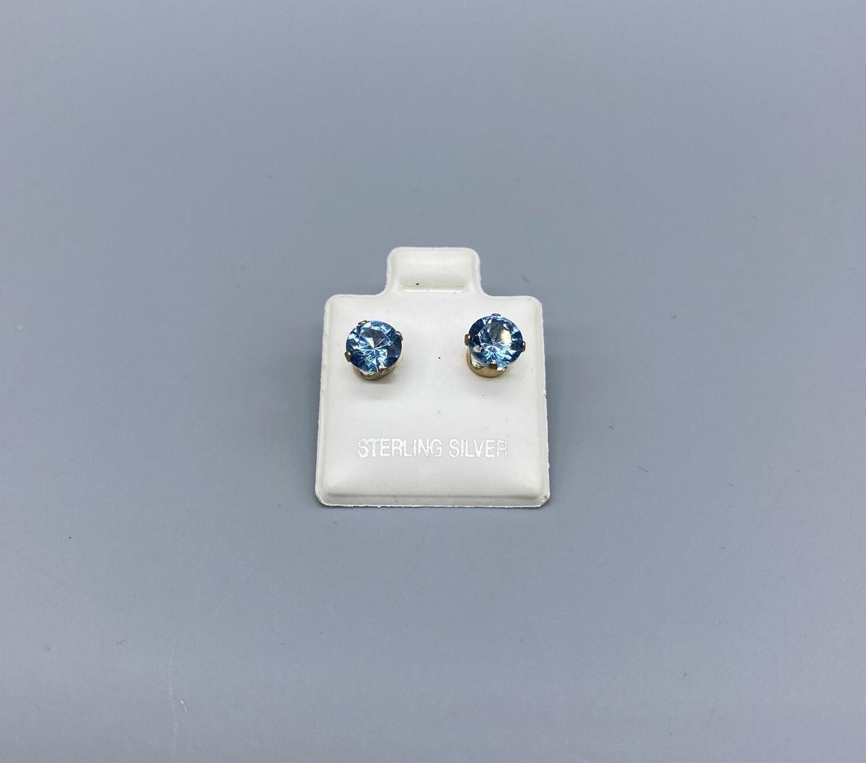 Sterling Silver Vintage Blue Stud Earrings