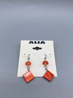 Coral Colored Vintage Wire Earrings