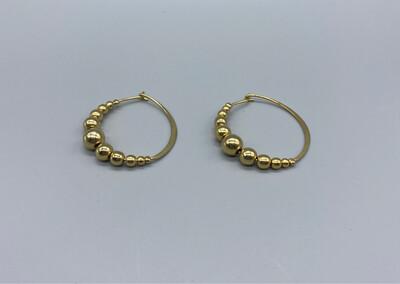 Gold Hoop Earrings With Spheres