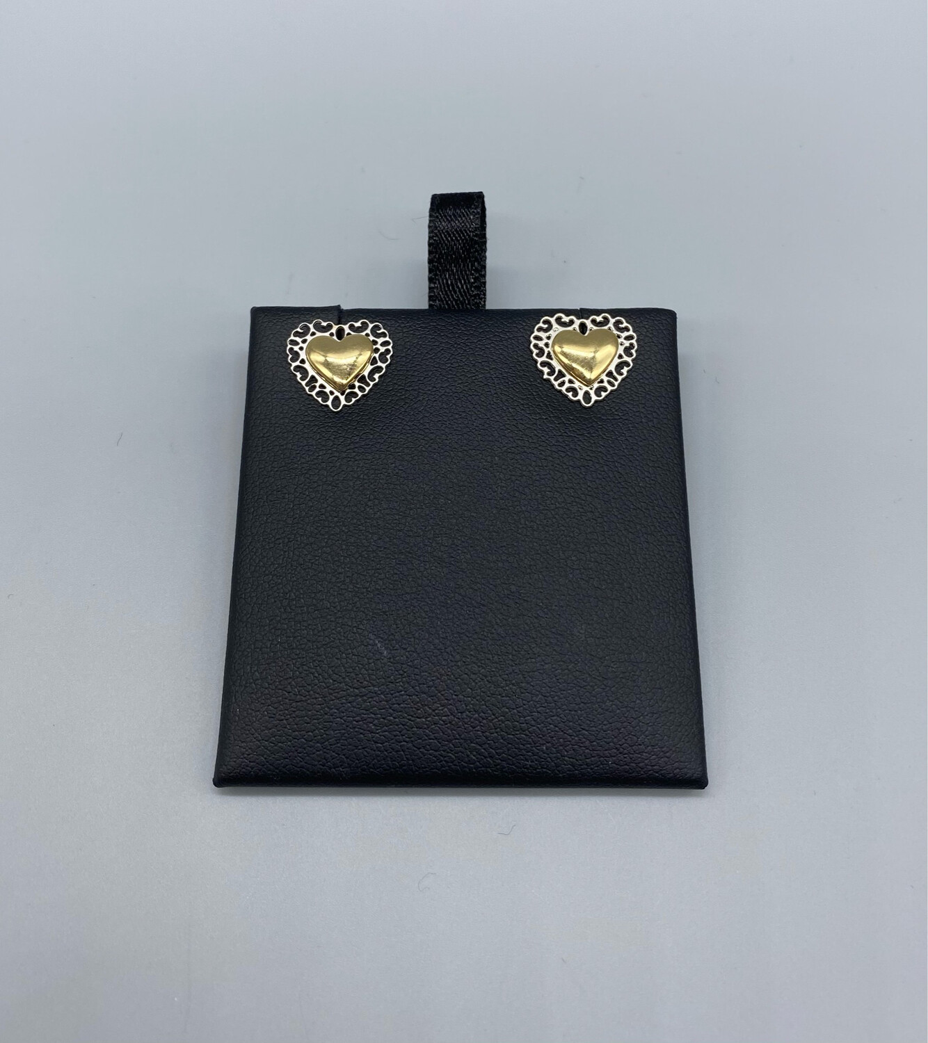 Silver And Gold Heart Studs