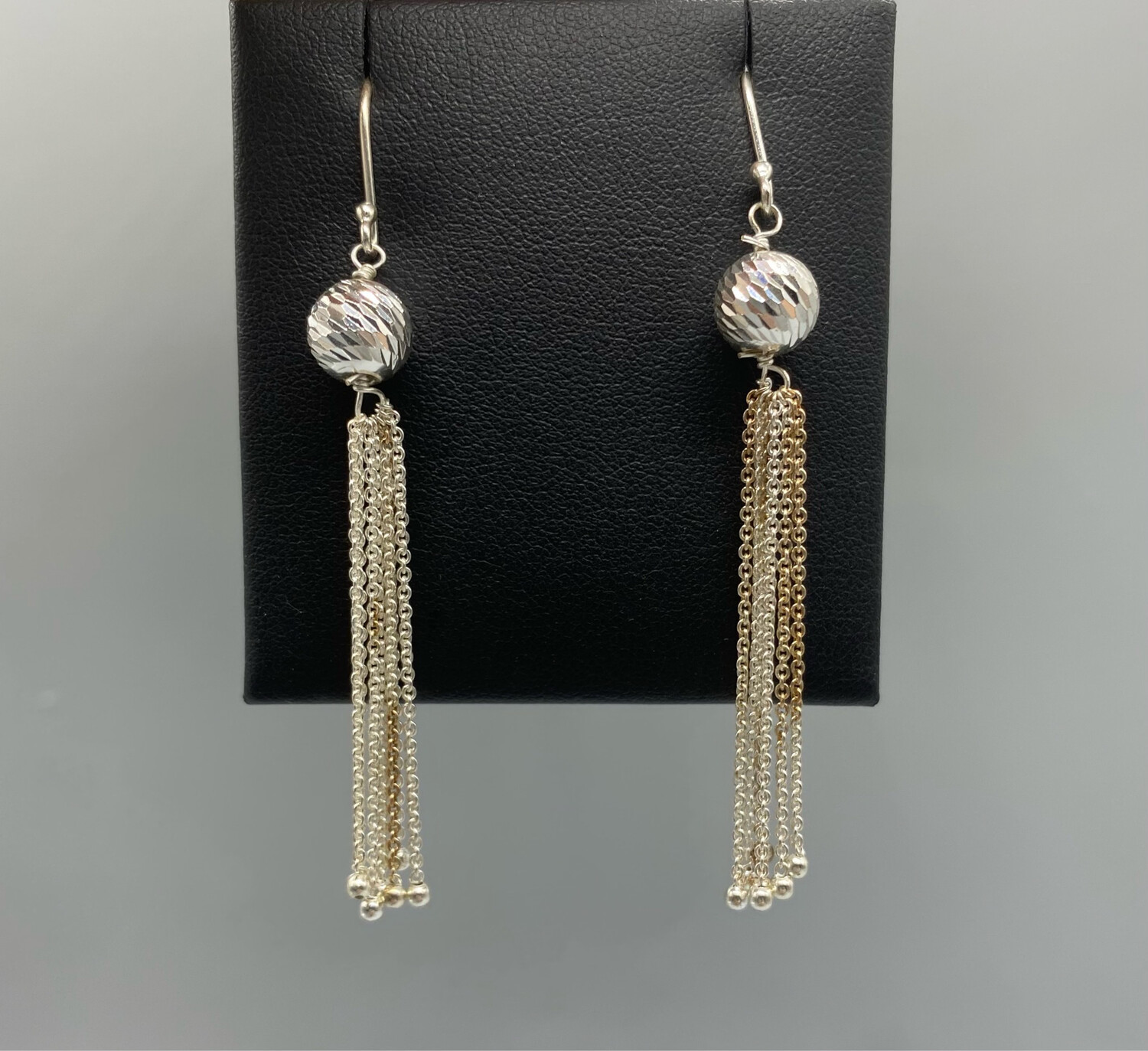 Wire Earrings With Silver And Gold Chains