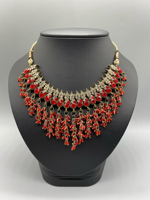 Vintage Red And White Bib Adjustable Necklace