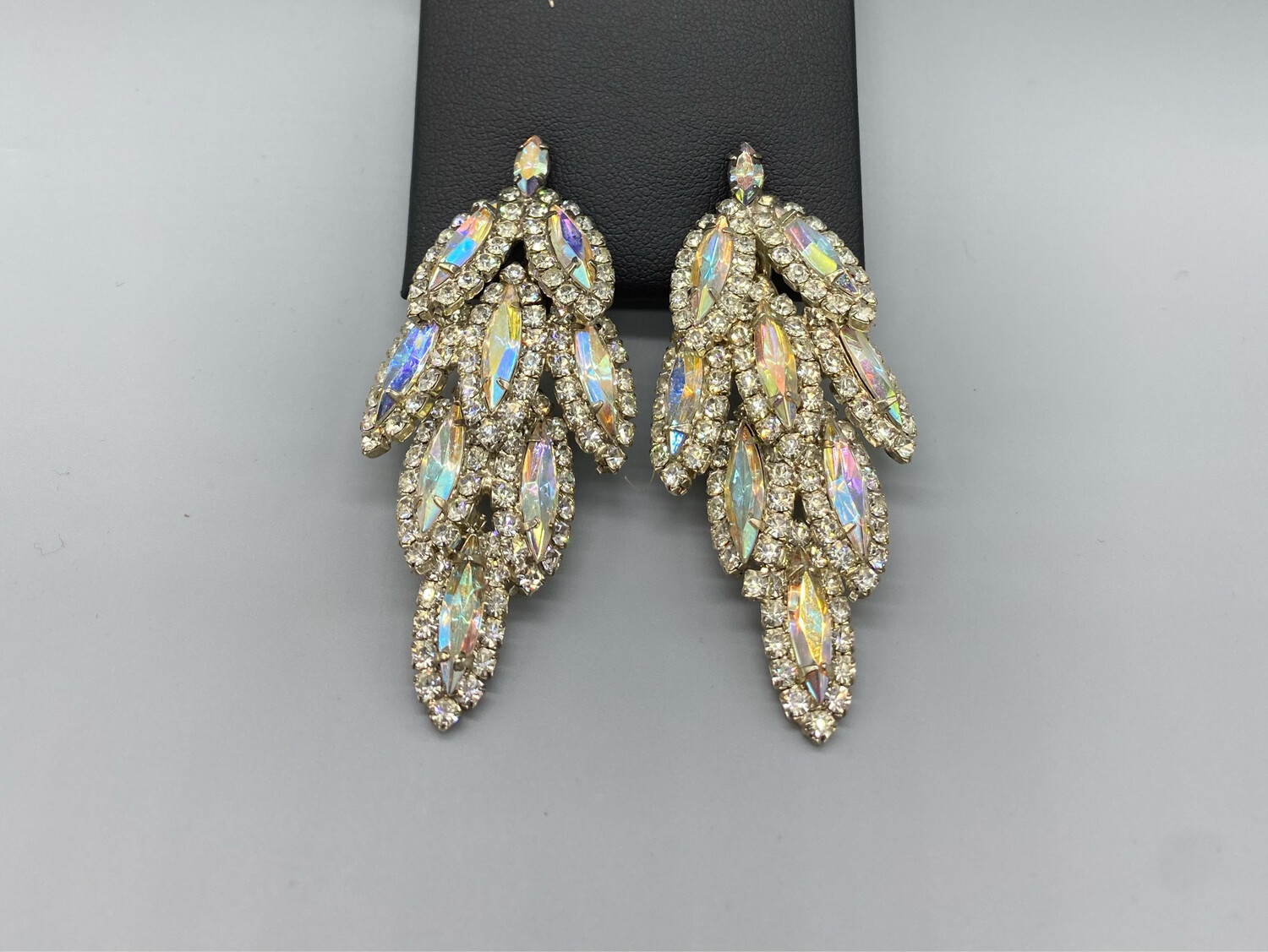 Vintage Clip On Iridescent Earrings