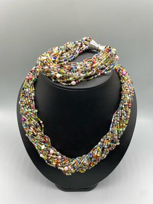 Multi-color Beaded Necklace And Bracelet Set