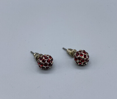 Silver And Red Sphere Studs