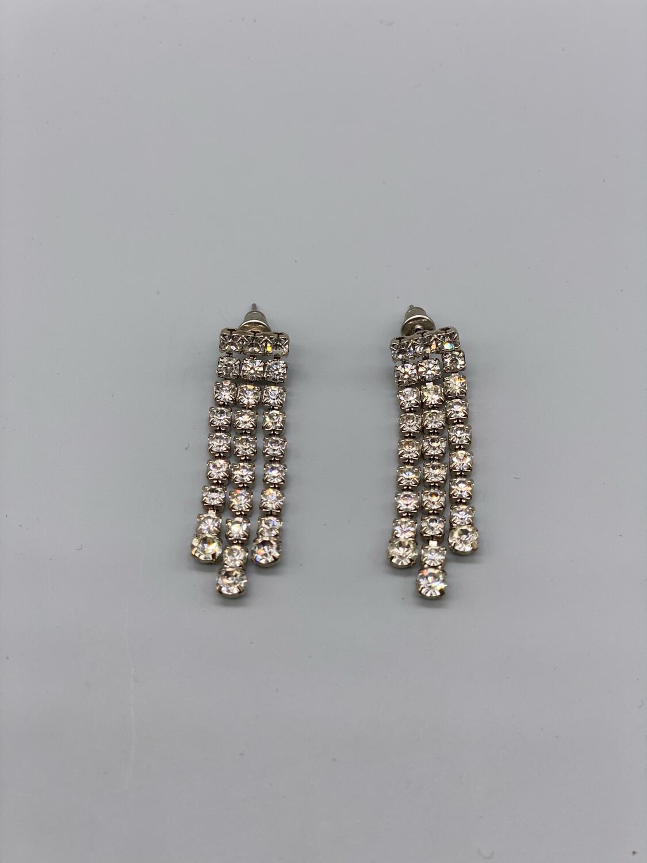 Vintage White Rhinestone Drop Earrings