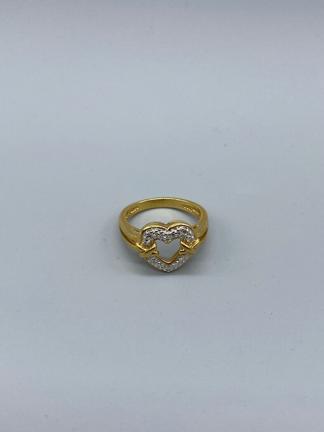 Gold And Silver Heart Ring Size 7